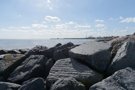 felixstowe: Felixstowe sea defences with pier in background