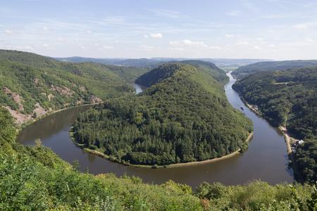 Saarschleife - The Saar river curving near Mettlach, Germany.