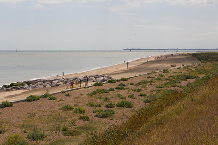 felixstowe: Felixstowe beach near nature reserve and mouth of River Orwell