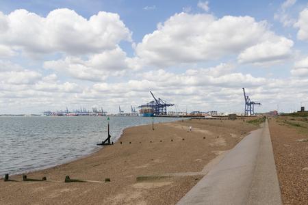 felixstowe: Felixstowe Port from shoreline Stock Photo