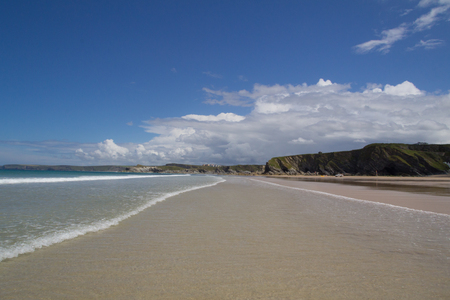 Great Western Beach at Newquay with gentle waves Stock Photo