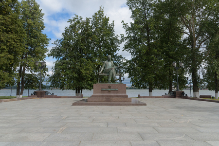 VOTKINSK, RUSSIA - AUGUST 23, 2018 - Tchaikovsky statue with paving in Votkinsk, Russia. Votkinsk is the birthplace of composer Pyotr Ilyich Tchaikovsky, who was born on 7 May 1840.