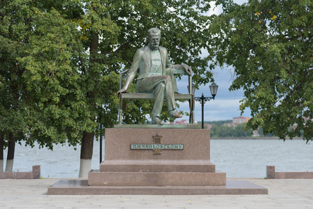 VOTKINSK, RUSSIA - AUGUST 23, 2018 - Tchaikovsky statue close up in Votkinsk, Russia. Votkinsk is the birthplace of composer Pyotr Ilyich Tchaikovsky, who was born on 7 May 1840.