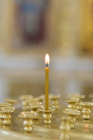 Burning Candle in Russian Orthodox Church