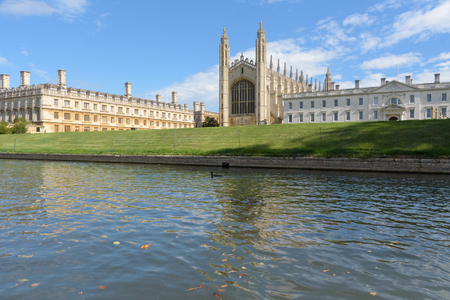 Clare and Kings College viewed from River Cam in Cambridge, UK