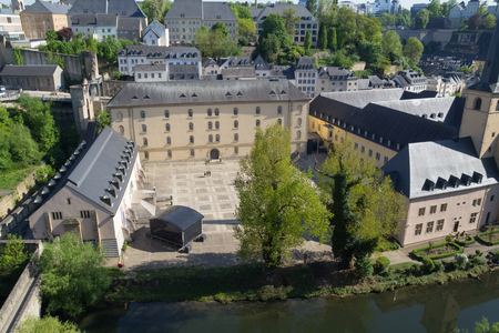 Neumünster Abbey in Luxembourg viewed from above