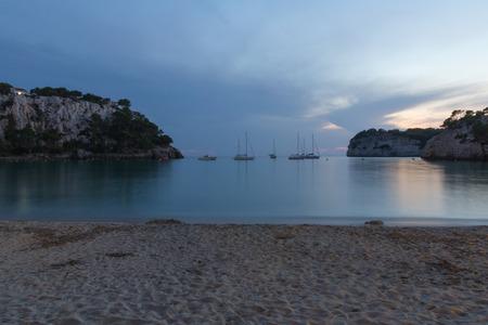 Long exposure shot evening shot of Cala Galdana bay in Menorca, Spain