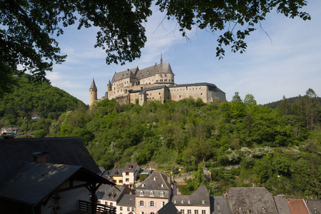 Vianden castle and Viaden town in Luxembourg