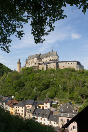 Vianden castle and Viaden town houses in Luxembourg