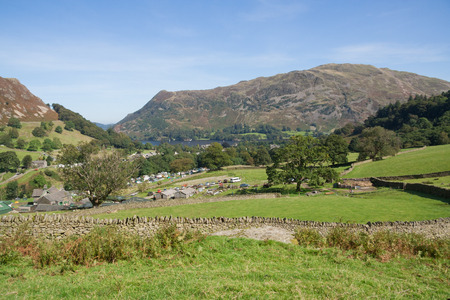 View of Ullswater and Glenridding campsite at base of Helvellyn