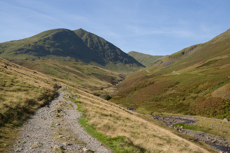 Footpath to Helvellyn mountain near Glenridding, Lake District Stock Photo