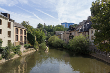 Alzette river with houses in Luxembourg from Rue Munster street