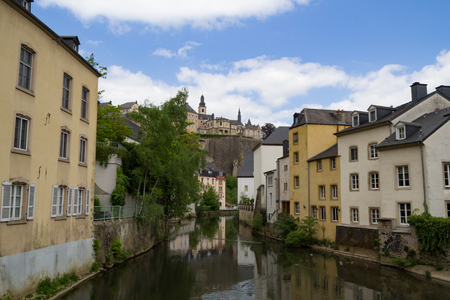 Alzette river scene in Luxembourg from Rue Munster street Stock Photo