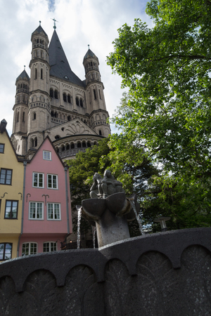 Church of Great St. Martin with water fountain in Cologne, Germany