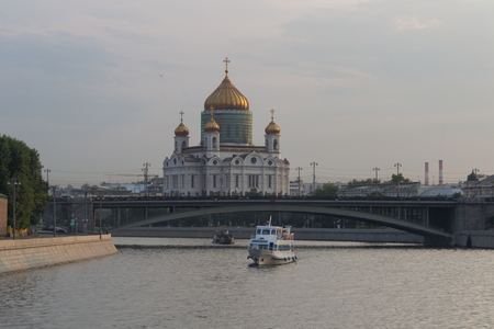 Cathedral of Christ the Saviour viewed from the Moskva River Stock Photo