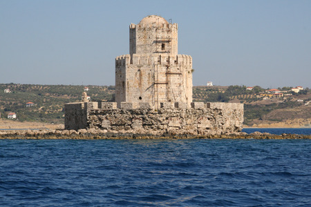 Methoni castle with scaffolding in Peloponnese, Messenia, Greece. Viewed from the sea.