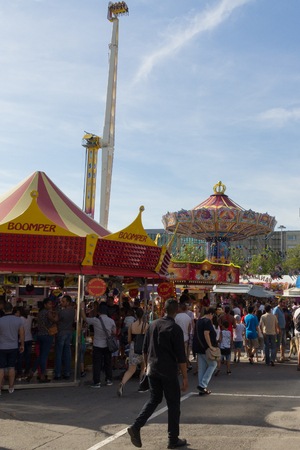 LUXEMBOURG, LUXEMBOURG - AUGUST 30, 2015 - Schueberfouer - The large funfair with rides and people visiting