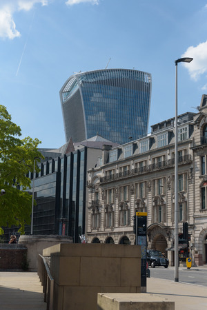 LONDON, UNITED KINGDOM  - JULY 7, 2018 - 20 Fenchurch Street, also known as the The Walkie-Talkie viewed from Byward Street Editorial