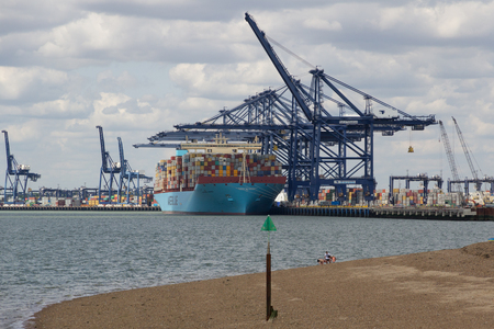 FELIXSTOWE, UNITED KINGDOM - JULY 11, 2015: Maersk Line container ship Maribo Maersk docked at Felixstowe port in Suffolk