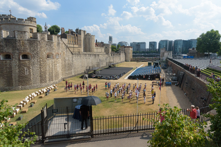 LONDON, UNITED KINGDOM  - JULY 7, 2018 - Marching band practicing in the grounds of The Tower of London