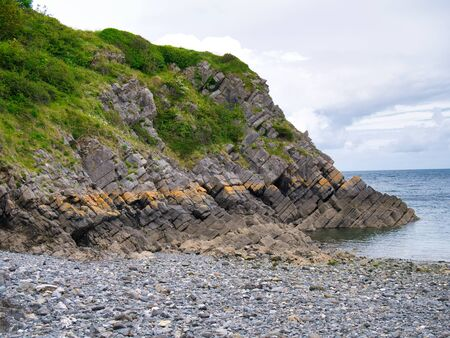 Coastal cliffs in Pembrokeshire, South Wales, UK, as viewed from the Coast Path
