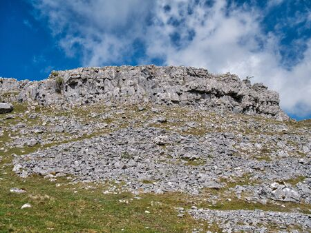 Eroded limestone off the path to Ingleborough from Ingleton in the south Yorkshire Dales, UK