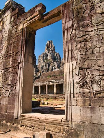 Temple ruins at the ancient Khmer site of Angkor Thom near Siem Reap in Cambodia.