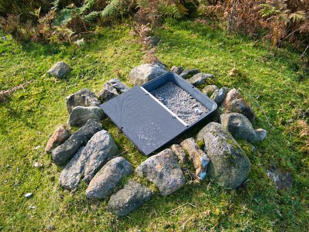 A medicated grit dispenser for red grouse on moorland in the Yorkshire Dales, Yorkshire, Endland, UK - the grit enables medication / drugs to be administered, such as those used to treat parasitic worm infections, to grouse populations.
