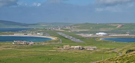 Sumburgh Airport in Shetland from Sumburgh Head - this is the main airport in Shetland and is at the most southerly point of the islands.