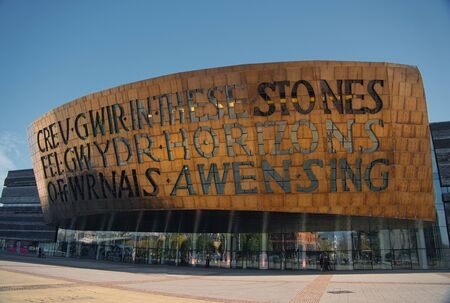 The Wales Millennium Centre / Canolfan Mileniwm Cymru in Cardiff Bay, Cardiff, Wales, UK - the centre hosts opera, ballet, contemporary dance, theatre, comedy, and musicals Редакционное