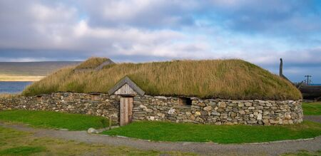 The reconstructed Viking Longhouse near Haroldswick, Unst, Shetland, Scotland, UK