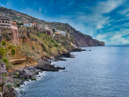 The steep cliffs of the rocky south coast of Madeira shows the absence of beaches on the island