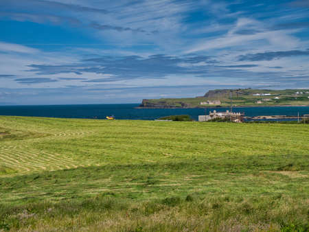 Portballintrae,UK - Jun 26 2021: A field of cut grass for silage on the Northern Ireland Antrim Causeway Coast. Taken on a sunny day with blue skies in summer.