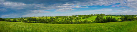 Rich, verdant, green rolling agricultural fields near Markethill in County Armagh in Northern Ireland, UK. A panoramic view taken on a sunny day in summer with light clouds.