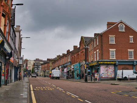 A view of Wallgate in Wigan, Lancashire, England, UK. The railway station Wigan Wallgate is on this road, which leads down to the canal and building known as Wigan Pier.