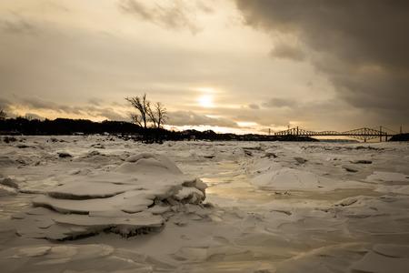 Cold Sunset Near the Bridges in Quebec City Stock fotó