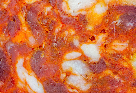 Macro shot of a slice of spanish-style chorizo