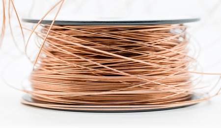 MAcro shot of a roll of enamel copper wire Stock fotó