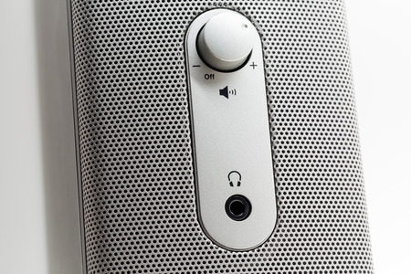 Macro shot of a standard computer speaker