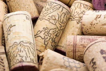Macro shot of used wine corks