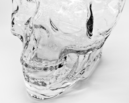 Artistic Black and White Picture of a Glass Skull Head Stock fotó - 36360528