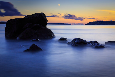 Long exposure shot of great sunset over the St.Laurent river