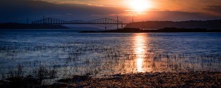 Dreamy Sunset Over the Bridges Stock fotó