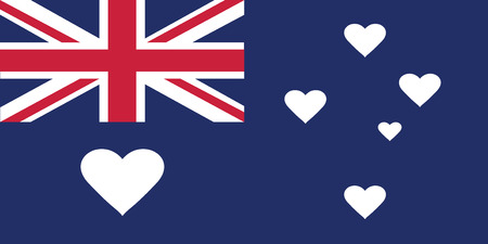 australia day: Autralian flag where stars were replaced by hearts