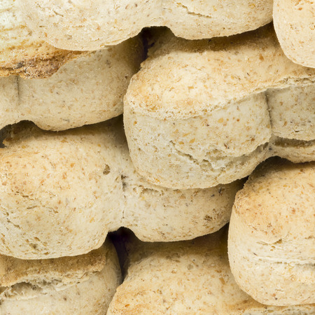 Macro shot of dog food biscuits shaped like bones