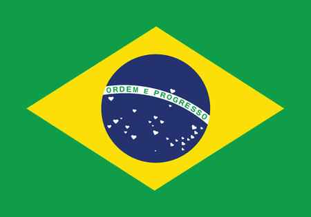 Brazilian flag where stars were replaced by hearts