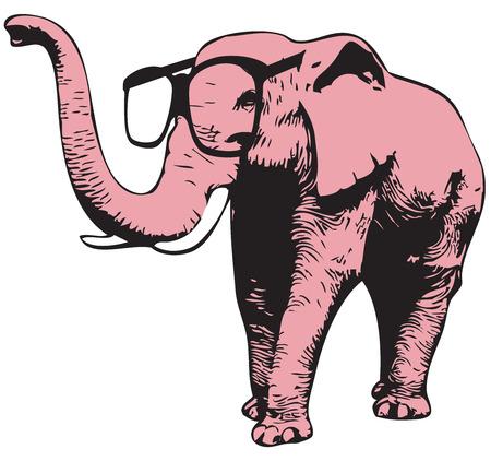 Illustratie van een roze olifant met een bril