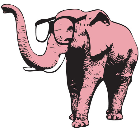 Illustration of a pink elephant with glasses
