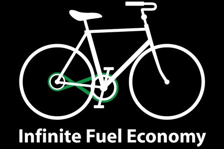 fuel economy: Infinite Fuel Economy - Illustration of a bicycle with an infinity chain