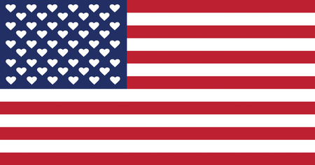 american flag: American flag where stars were replaced by hearts Stock Photo
